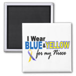Down Syndrome I Wear Blue & Yellow For My Niece 2 2 Inch Square Magnet