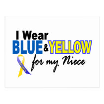 Down Syndrome I Wear Blue & Yellow For My Niece 2 Postcard