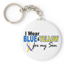 Down Syndrome I Wear Blue & Yellow For My Son 2 Keychain