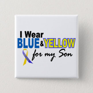 Down Syndrome I Wear Blue & Yellow For My Son 2 Pinback Button