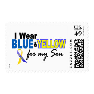 Down Syndrome I Wear Blue & Yellow For My Son 2 Postage Stamps