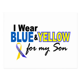 Down Syndrome I Wear Blue & Yellow For My Son 2 Postcard