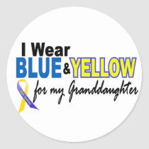 Down Syndrome I Wear Blue & Yellow Granddaughter 2 Classic Round Sticker