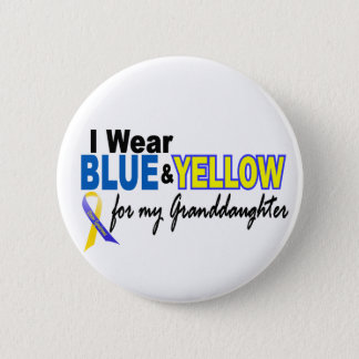 Down Syndrome I Wear Blue & Yellow Granddaughter 2 Pinback Button