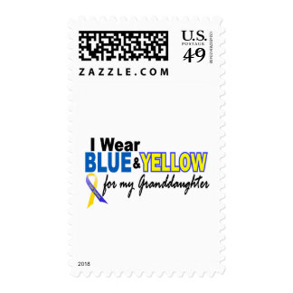 Down Syndrome I Wear Blue & Yellow Granddaughter 2 Stamp