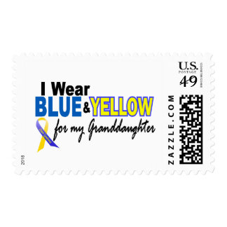 Down Syndrome I Wear Blue & Yellow Granddaughter 2 Postage