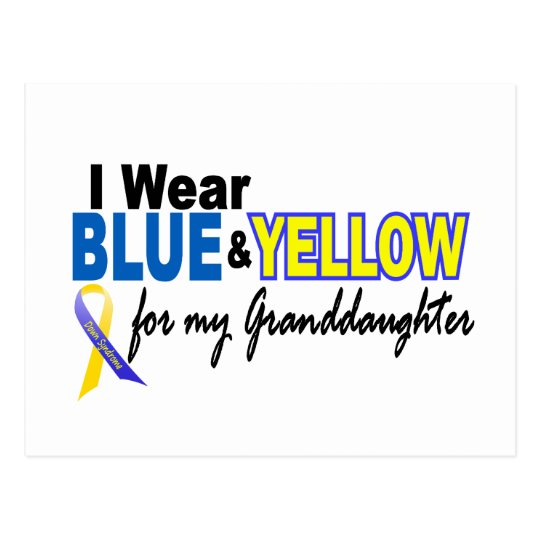 Down Syndrome I Wear Blue & Yellow Granddaughter 2 Postcard