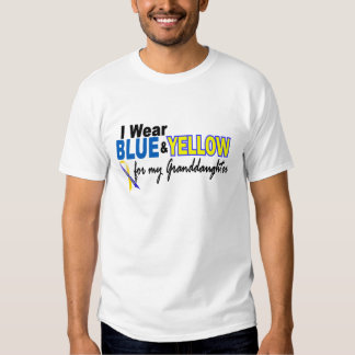 Down Syndrome I Wear Blue & Yellow Granddaughter 2 T Shirt
