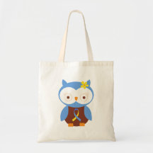 Down Syndrome Owl Ribbon Canvas Bags