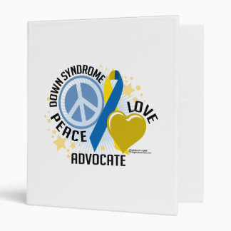 Down Syndrome Peace Love Advocate 3 Ring Binder
