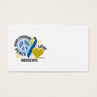 Down Syndrome Peace Love Advocate Business Card