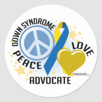 Down Syndrome Peace Love Advocate Classic Round Sticker