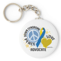 Down Syndrome Peace Love Advocate Keychain