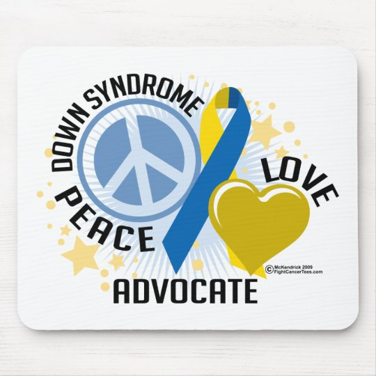 Down Syndrome Peace Love Advocate Mouse Pad