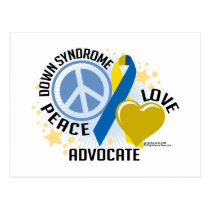 Down Syndrome Peace Love Advocate Postcard