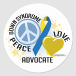 Down Syndrome Peace Love Advocate Round Stickers