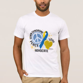 Down Syndrome Peace Love Advocate T-Shirt