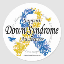 Down Syndrome Ribbon of Butterflies 2 Classic Round Sticker