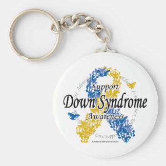 Down Syndrome Ribbon of Butterflies 2 Keychain