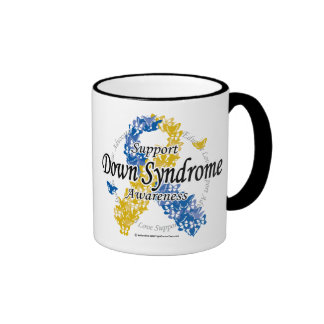 Down Syndrome Ribbon of Butterflies 2 Ringer Coffee Mug