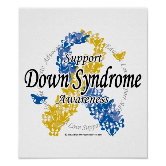 Down Syndrome Ribbon of Butterflies 2 Poster