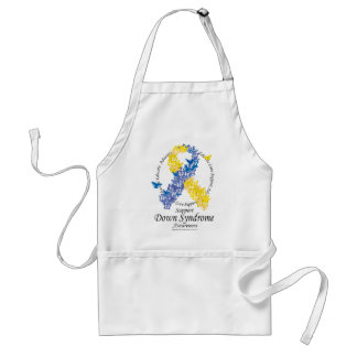 Down Syndrome Ribbon of Butterflies Adult Apron