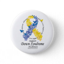 Down Syndrome Ribbon of Butterflies Button