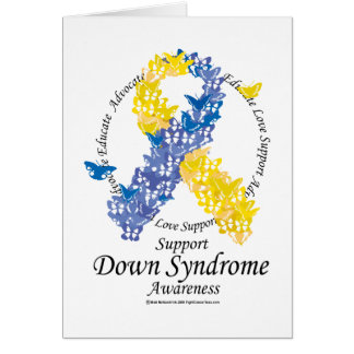 Down Syndrome Ribbon of Butterflies Card