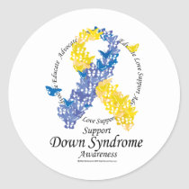 Down Syndrome Ribbon of Butterflies Classic Round Sticker
