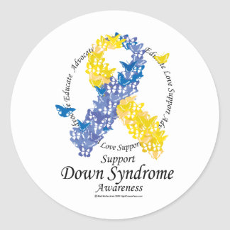 Down Syndrome Ribbon of Butterflies Stickers