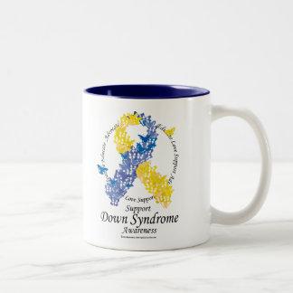 Down Syndrome Ribbon of Butterflies Two-Tone Coffee Mug