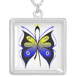 Down Syndrome Stylish Butterfly Awareness Ribbon Pendants