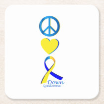 Down Syndrome Suppor Gifts Square Paper Coaster