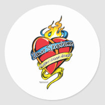 Down Syndrome Tattoo Heart Classic Round Sticker