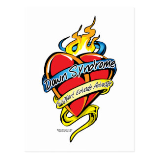 Down Syndrome Tattoo Heart Postcard