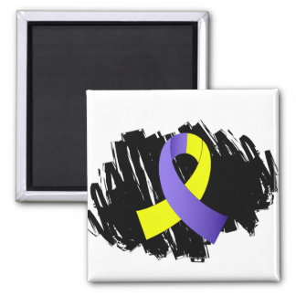 Down Syndrome Yellow Blue Ribbon With Scribble 2 Inch Square Magnet