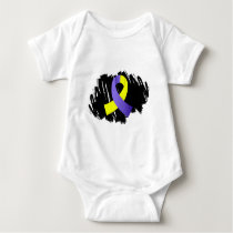 Down Syndrome Yellow Blue Ribbon With Scribble Baby Bodysuit
