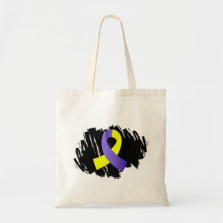 Down Syndrome Yellow Blue Ribbon With Scribble Budget Tote Bag
