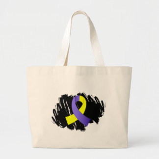 Down Syndrome Yellow Blue Ribbon With Scribble Jumbo Tote Bag