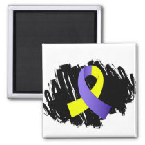 Down Syndrome Yellow Blue Ribbon With Scribble Magnet