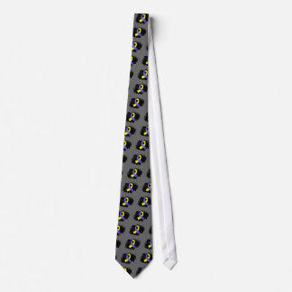Down Syndrome Yellow Blue Ribbon With Scribble Neck Tie