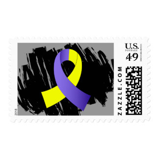 Down Syndrome Yellow Blue Ribbon With Scribble Postage Stamp