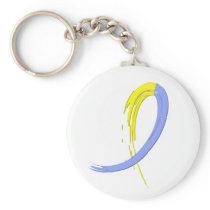Down Syndrome's Blue And Yellow Ribbon A4 Keychain