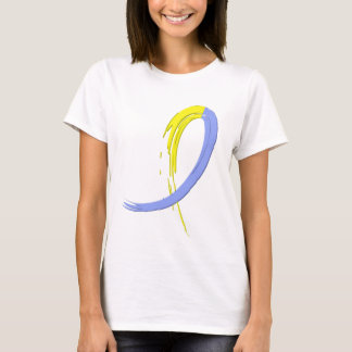 Down Syndrome's Blue And Yellow Ribbon A4 T-Shirt