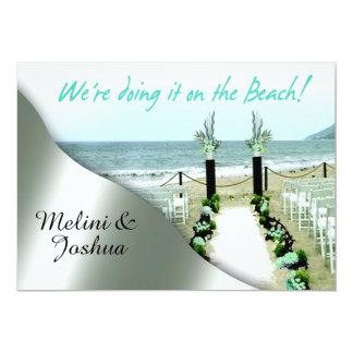 Down the Aisle Aqua Grey Silver Beach Wedding Card