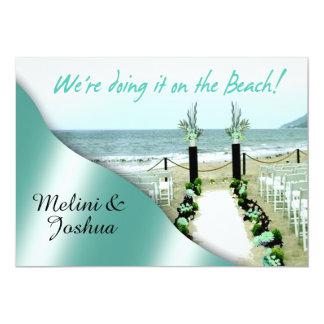Down the Aisle Aqua Lucite Green Beach Wedding Card
