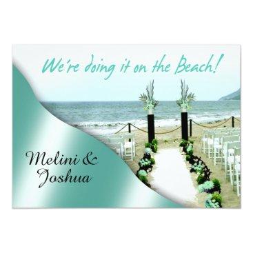Beach Themed Down the Aisle Aqua Lucite Green Beach Wedding Card