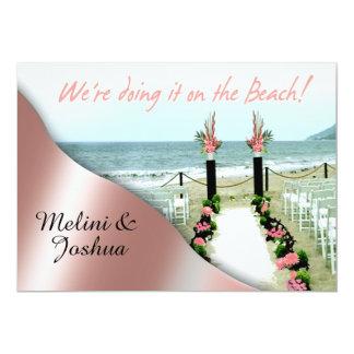 Down the Aisle Blush Pink Beach Wedding Card