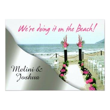 Beach Themed Down the Aisle Hot Pink Silver Beach Wedding Card