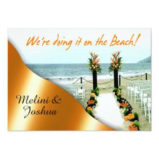 Down the Aisle Orange Tangerine Beach Wedding Card